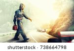 kart crossing the finish line... | Shutterstock . vector #738664798