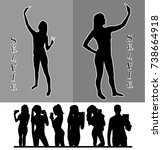 girl and man black silhouettes... | Shutterstock .eps vector #738664918