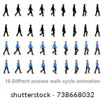 business man walk cycle | Shutterstock .eps vector #738668032