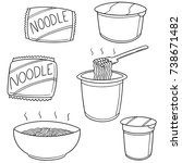 vector set of noodle | Shutterstock .eps vector #738671482