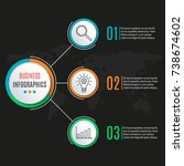 3 steps circle infographics... | Shutterstock . vector #738674602