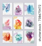 nine mini cards with crystals... | Shutterstock .eps vector #738675472