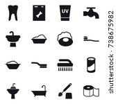 16 vector icon set   uv cream ... | Shutterstock .eps vector #738675982