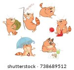 set of cartoon illustration. a... | Shutterstock . vector #738689512