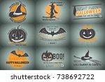 happy halloween set. invitation ...   Shutterstock .eps vector #738692722