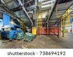 modern waste recycling... | Shutterstock . vector #738694192