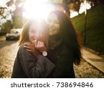 portrait of girls  brunette and ... | Shutterstock . vector #738694846