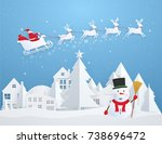 christmas card with santa claus ... | Shutterstock .eps vector #738696472