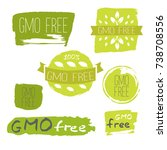 gmo free icons  labels. organic ... | Shutterstock .eps vector #738708556