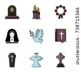 funeral home icons set. flat... | Shutterstock . vector #738715366