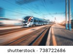 high speed train in motion at... | Shutterstock . vector #738722686