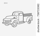 Line Art Farmer Pickup Truck...