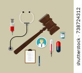 medical law health care wooden... | Shutterstock .eps vector #738724312