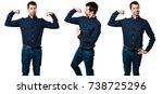 set of handsome man making... | Shutterstock . vector #738725296