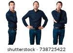 set of handsome man sending a... | Shutterstock . vector #738725422
