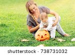 beautiful young mother with... | Shutterstock . vector #738731032