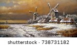 winter village  landscape...   Shutterstock . vector #738731182