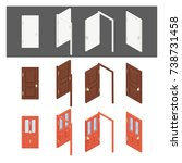 isometric collection of doors.... | Shutterstock .eps vector #738731458
