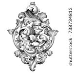 vintage baroque victorian frame ... | Shutterstock .eps vector #738734812