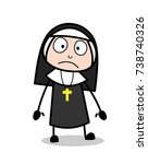 shocked cartoon nun face... | Shutterstock .eps vector #738740326