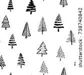 hand drawn christmas tree... | Shutterstock .eps vector #738740842