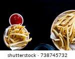 fresh potatoes tasty french... | Shutterstock . vector #738745732