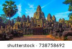 bayon temple in siem reap... | Shutterstock . vector #738758692