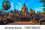 bayon temple in siem reap... | Shutterstock . vector #738758692