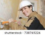 woman construction worker... | Shutterstock . vector #738765226