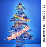 "Small photo of Christmas tree made of glass with fairy lights and ""Happy New Yea"" 2018 written on a blue background"