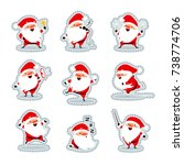 santa claus in different... | Shutterstock .eps vector #738774706