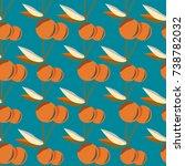 cute cherry seamless pattern.... | Shutterstock . vector #738782032