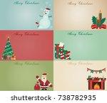 old christmas cartoon card. | Shutterstock .eps vector #738782935