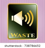 gold emblem with sound icon... | Shutterstock .eps vector #738786652