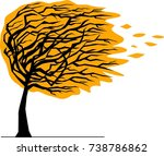autumn tree bent by the wind | Shutterstock .eps vector #738786862