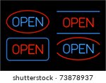 Set Of Neon Open Messages....