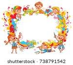 playground. children paint... | Shutterstock .eps vector #738791542