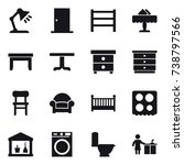 16 vector icon set   table lamp ... | Shutterstock .eps vector #738797566