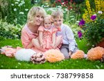 mother with children on a walk | Shutterstock . vector #738799858