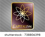 shiny badge with atom icon and ... | Shutterstock .eps vector #738806398