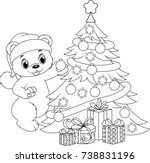 christmas tree coloring page | Shutterstock .eps vector #738831196