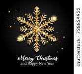 golden glitter snowflake | Shutterstock . vector #738834922