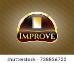 gold badge with book icon and... | Shutterstock .eps vector #738836722