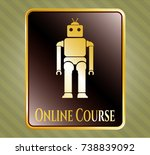 gold shiny emblem with robot... | Shutterstock .eps vector #738839092