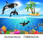 cartoon killer whale jumping in ... | Shutterstock .eps vector #738846226