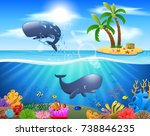 cartoon sperm whale jumping in... | Shutterstock .eps vector #738846235