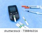 small blood glucose meter  test ... | Shutterstock . vector #738846316
