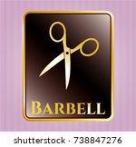 golden emblem with scissors... | Shutterstock .eps vector #738847276