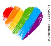 Grunge Heart In Rainbow Color....