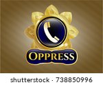 gold badge with old phone icon ... | Shutterstock .eps vector #738850996